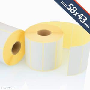 rotoli etichette adesive 58x43